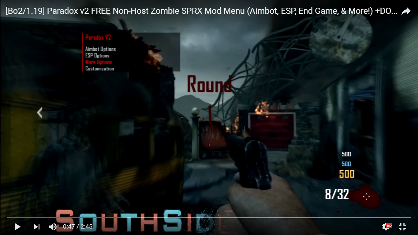 Outdated - [Bo2/1 19] Paradox v2 FREE Non-Host Zombie SPRX Mod Menu